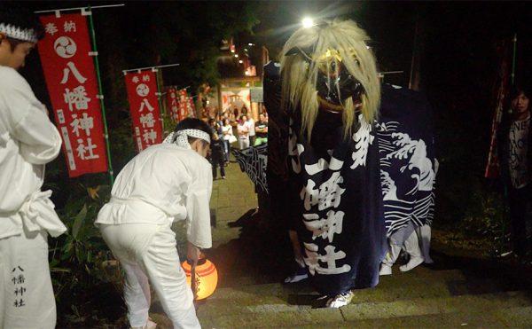 飯豊町の夜の獅子祭り